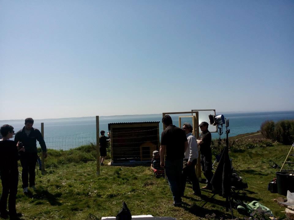 Dressage de chienspour des tournages de filmsen Bretagne.