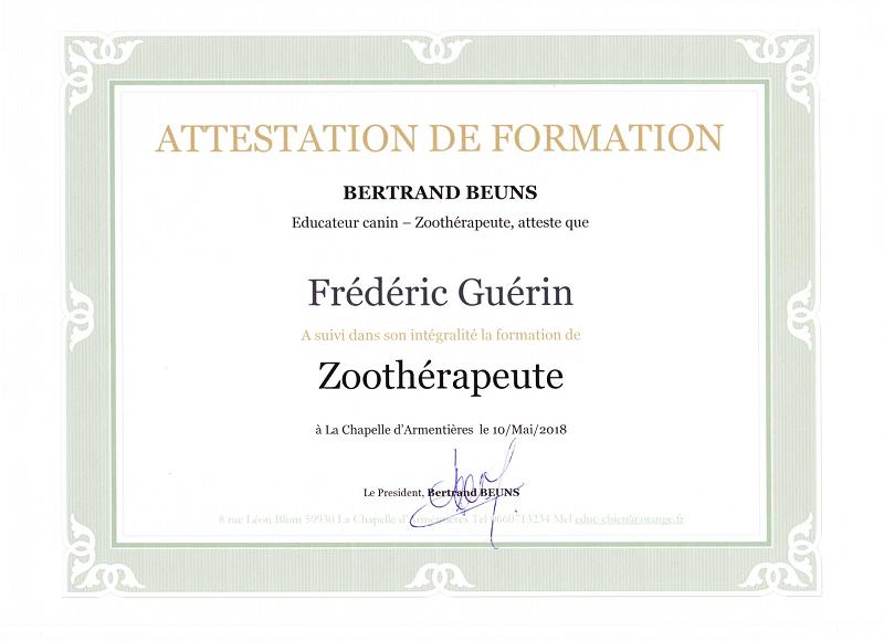 Zoothérapeute attestation