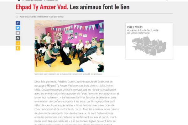 Zoothérapie Finistère article
