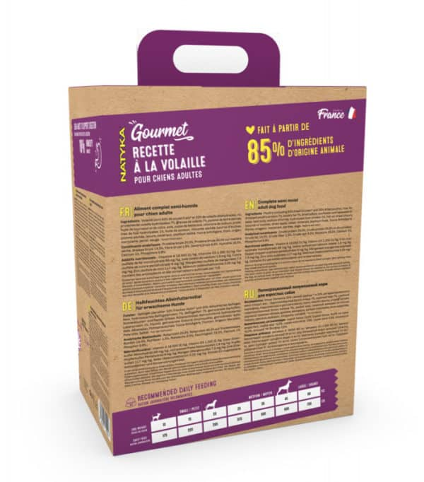 NATYKA Gourmet volaille Aliment complet semi-humide pour chien adulte quimper